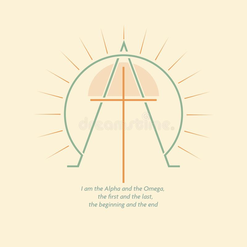Alpha and Omega. Christian logo with the image of the cross and the letters Alpha and Omega. The logo has sun and rays. The logo is made in a simple style royalty free illustration