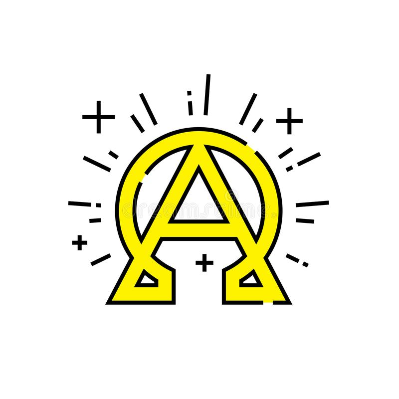 Alpha omega line icon. Alpha omega icon. Beginning and end symbol. Greek alphabet concept sign. Eternal God emblem. Vector illustration line icon stock illustration