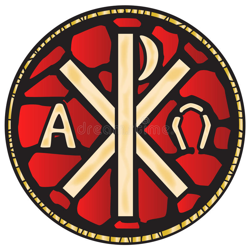Alpha Omega Stain Glass Window. A stained glass window depicting the Alpha Omega symbols royalty free illustration