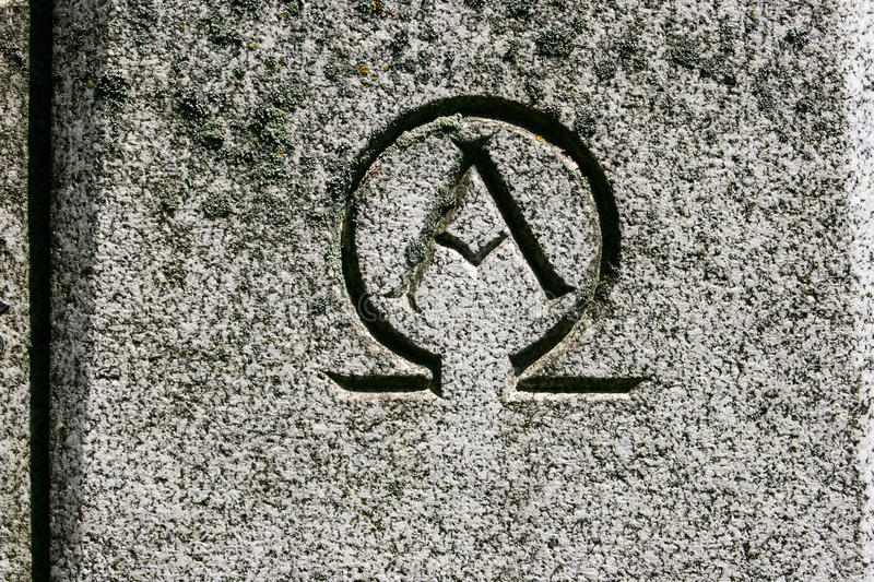 Alpha Omega Symbol Carved In Steen Stock Afbeelding Afbeelding