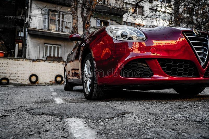 Alpha romeo Giuletta, couleur rouge foncé, lavée et polie image stock