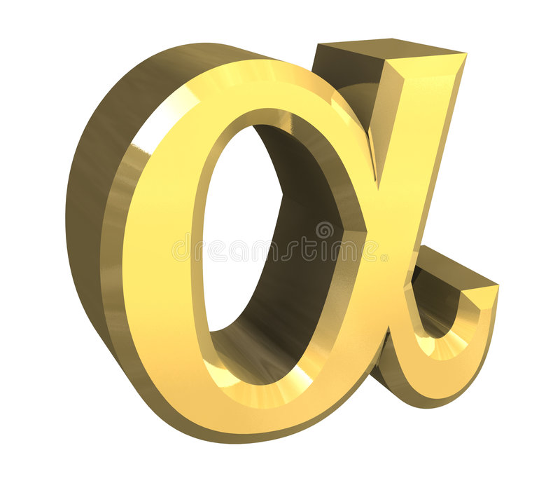 Alpha symbol in gold (3d). Alpha symbol in gold (3d made royalty free illustration