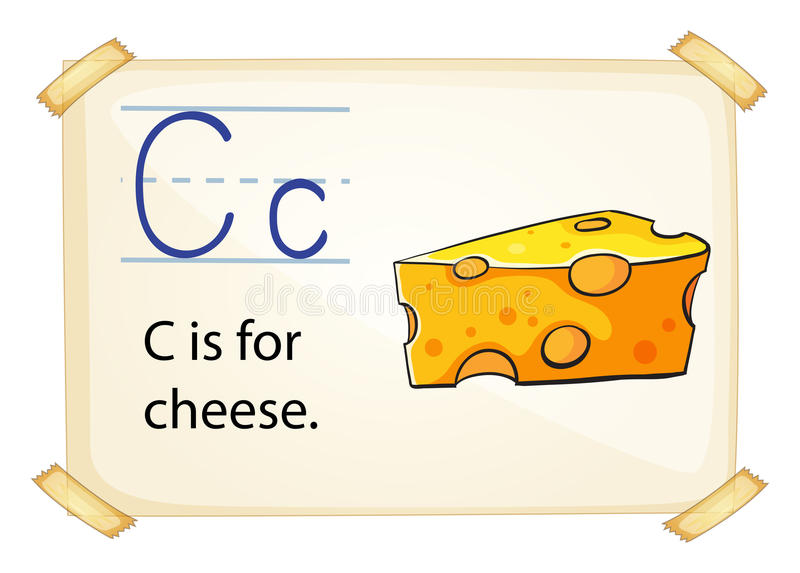 Alphabe C. Illustration of a flashcard letter C for cheese vector illustration