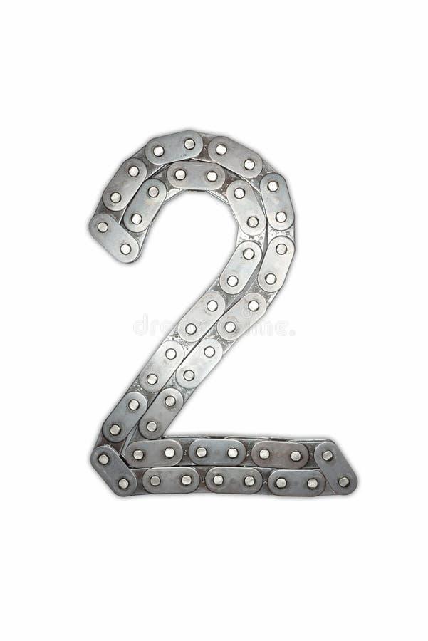 Alphabet à chaînes d'isolement Police de chiffres Numéro deux 2 images stock