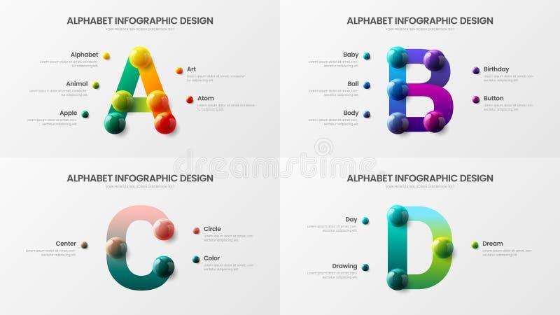 Alphabet étonnant A, B, C, paquet coloré réaliste infographic de vecteur d'illustration de conception de présentation des boules  illustration de vecteur