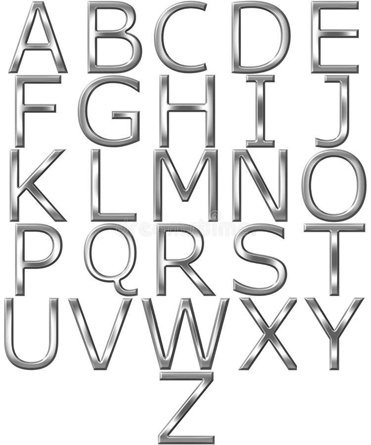 alphabet 3D argenté illustration de vecteur