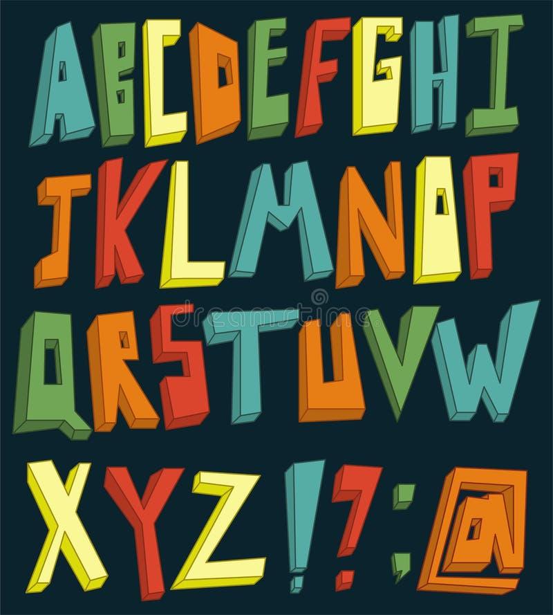 Alphabet 3d coloré illustration libre de droits
