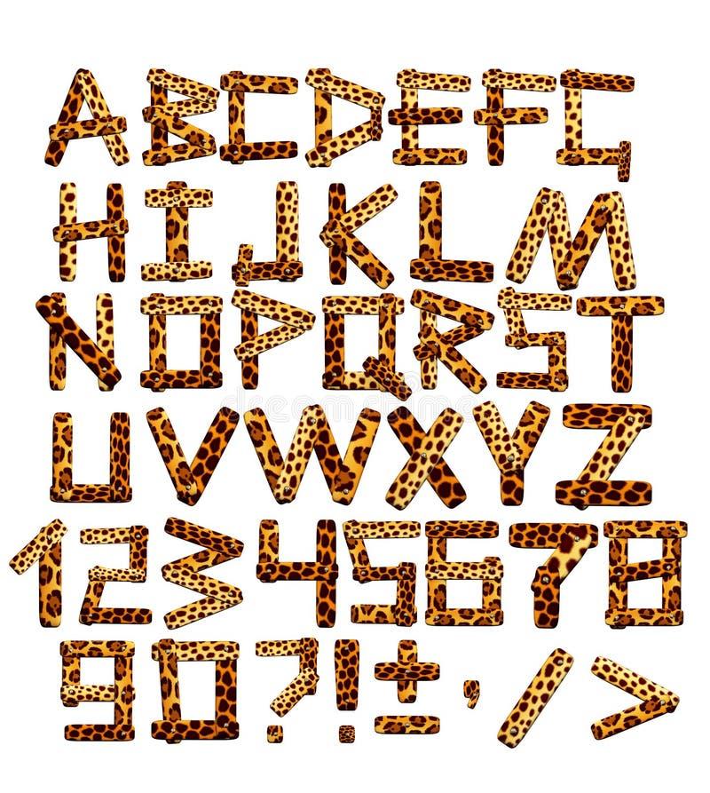alphabet 3d dans le type d'un safari illustration de vecteur