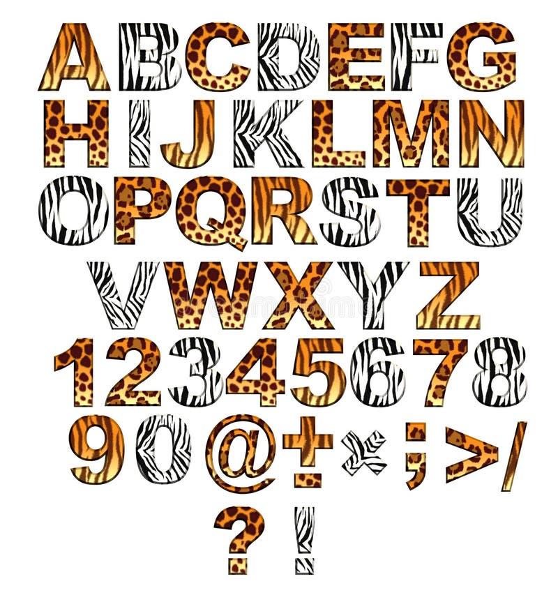 alphabet 3d dans le type d'un safari illustration libre de droits