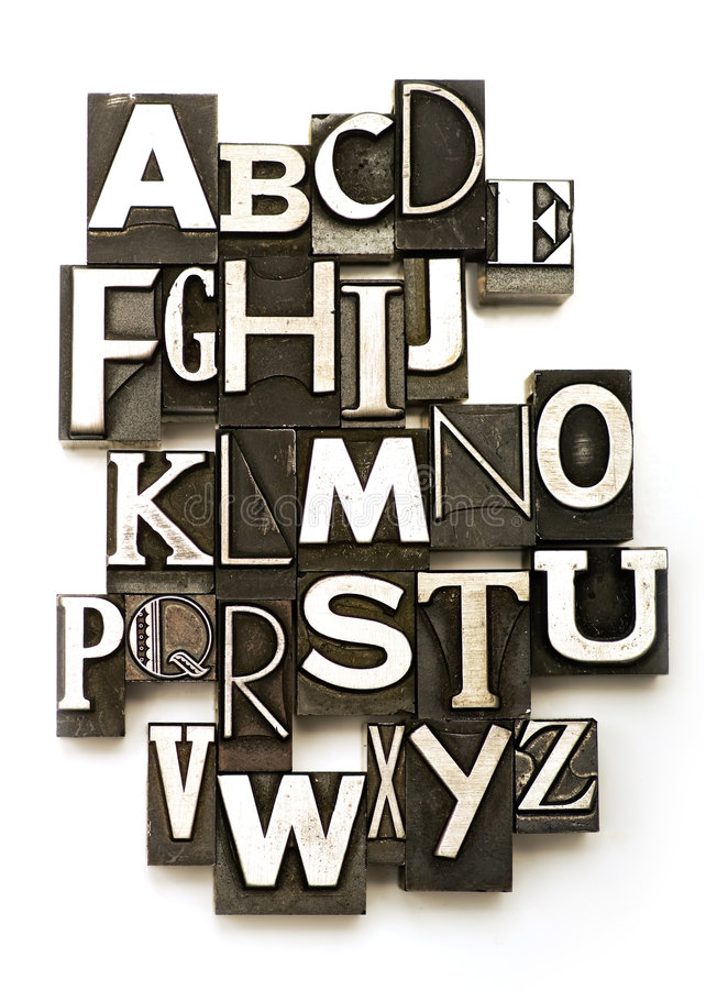 Alphabet. Photographed using a mix of vintage letterpress characters. Cross-proccessed for a vintage look