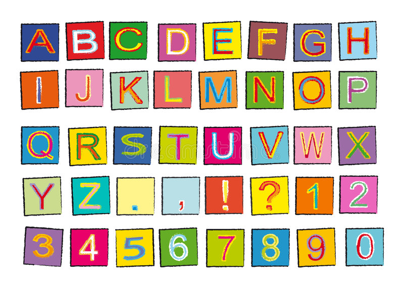 Alphabet. Funny and colourful alphabet and numbers. Isolated on white. It is a vectorial illustration. Eps file available