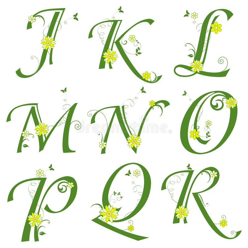 Alphabet. Floral Alphabet letters on isolated background stock illustration