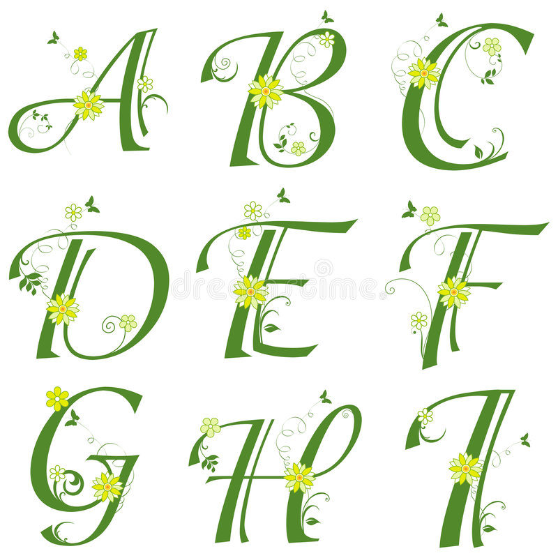 Download Alphabet stock vector. Illustration of insect, font, flower - 9079127