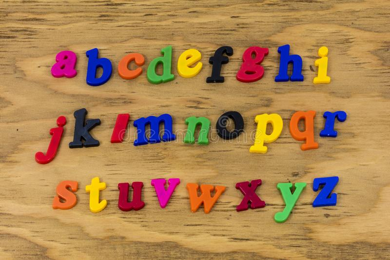 Alphabet abc color letters learning school plastic royalty free stock photo
