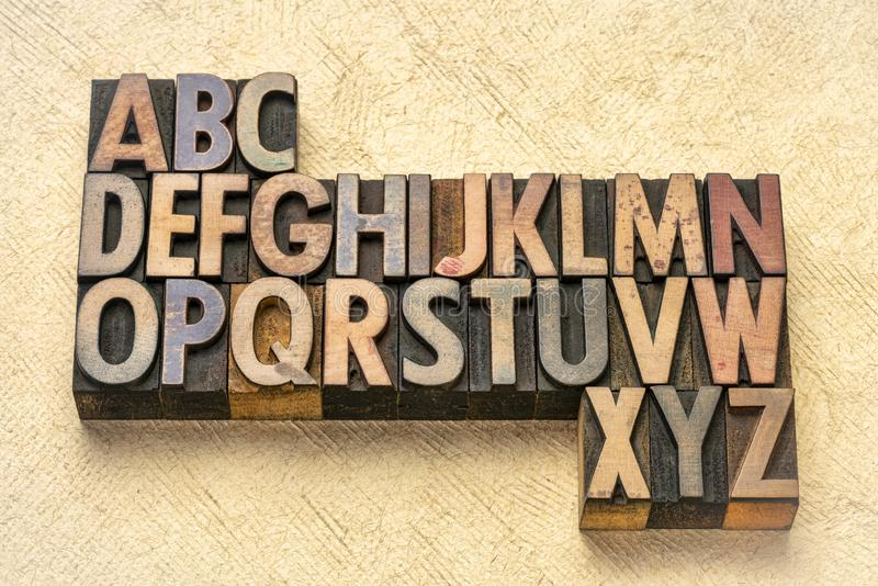 Alphabet abstract in wood type royalty free stock photos