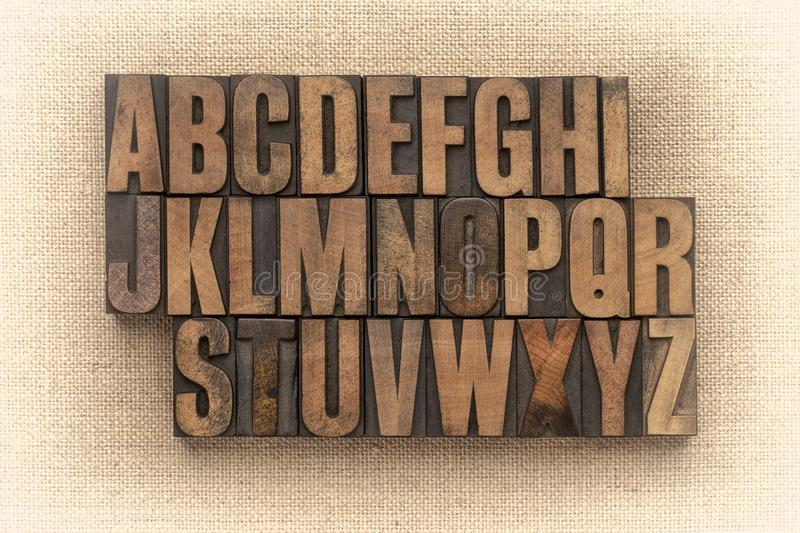 Alphabet abstract in vintage wood type stock photography
