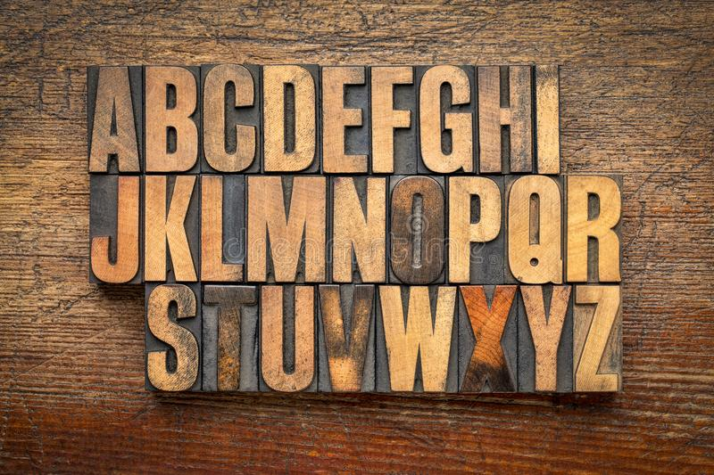 Alphabet abstract in vintage wood type royalty free stock photo