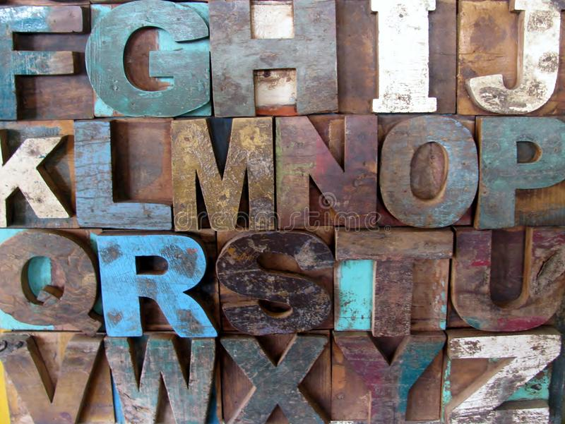Download Alphabet Abstract - Vintage Wooden Letterpress Types. Stock Photo - Image of blue, block: 83724724