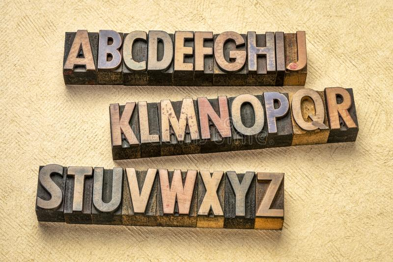 Alphabet abstract in wood type stock image