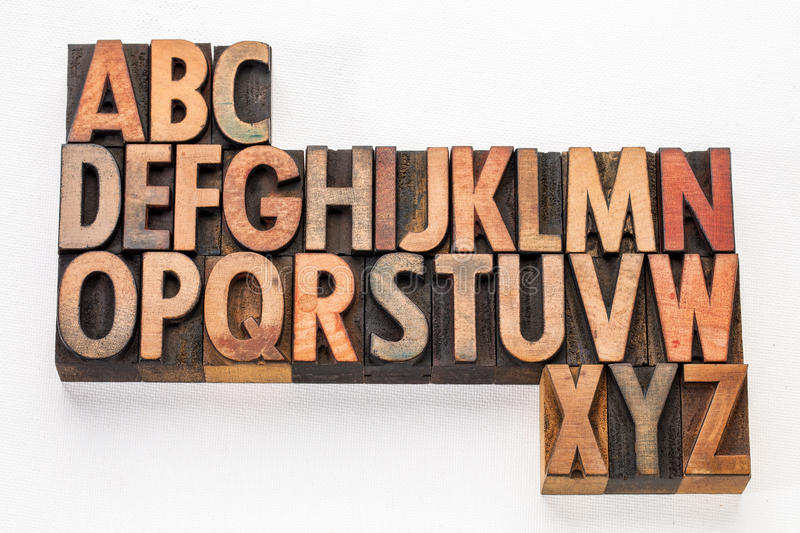 Alphabet abstract in wood type. English alphabet abstract - vintage letterpress wood type printing blocks on white arr canvas royalty free stock image
