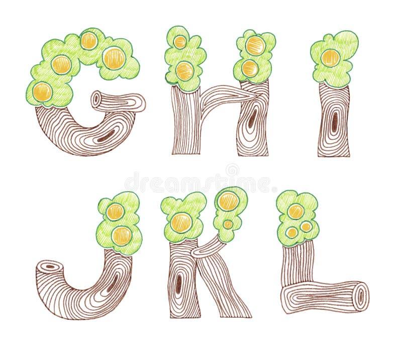 Alphabet anglais d'eco de griffonnage de marqueur illustration stock