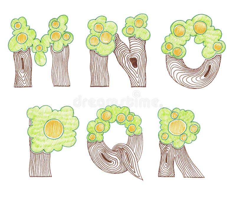 Alphabet anglais d'eco de griffonnage de marqueur illustration libre de droits