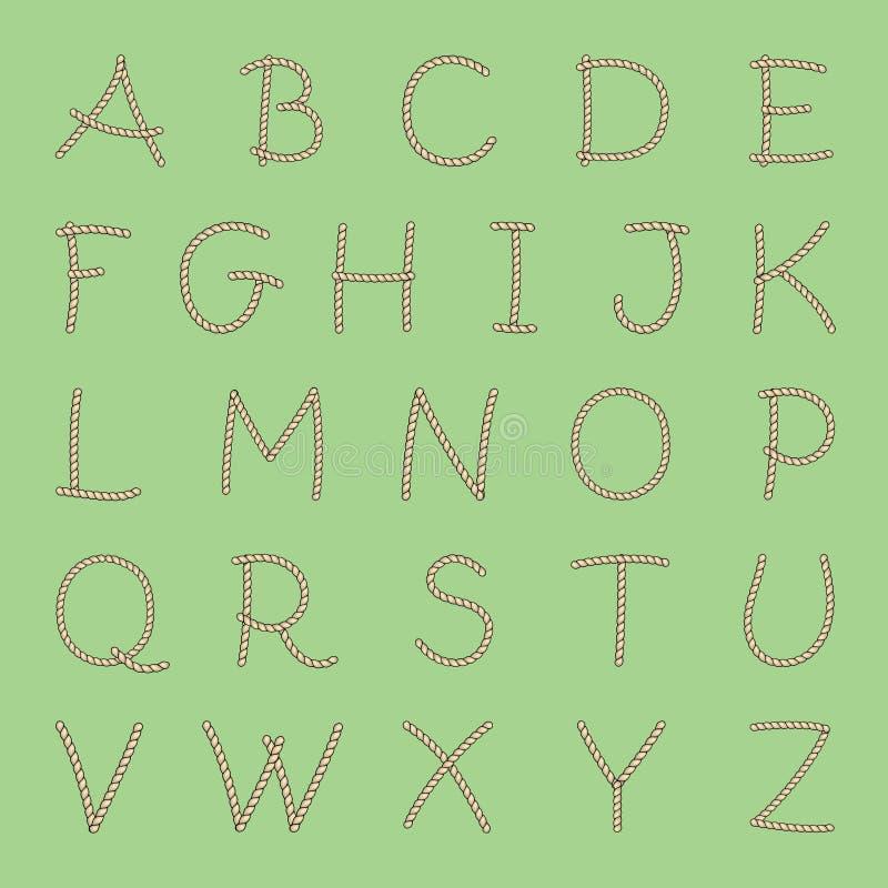 Alphabet anglais de corde de vecteur tout l'A-Z de lettres illustration de vecteur