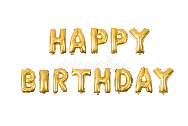 Alphabet anglais de joyeux anniversaire d'or jaune illustration libre de droits