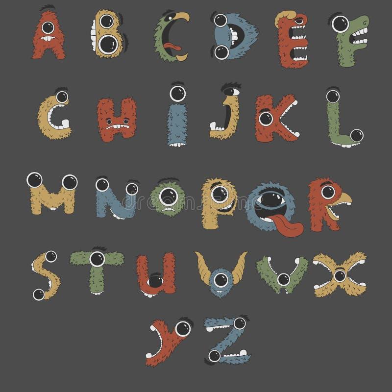 Alphabet anglais de monstre formé comme monstres photographie stock