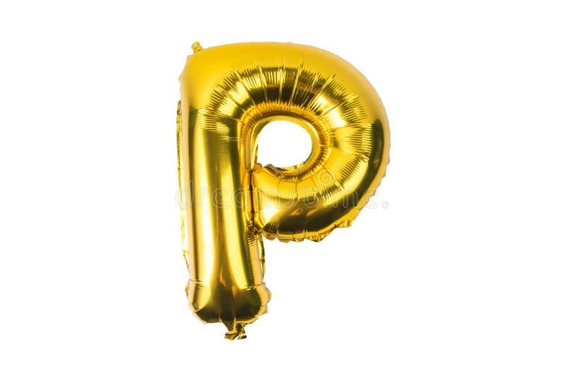 Alphabet anglais des ballons d'or jaunes sur un blanc illustration stock