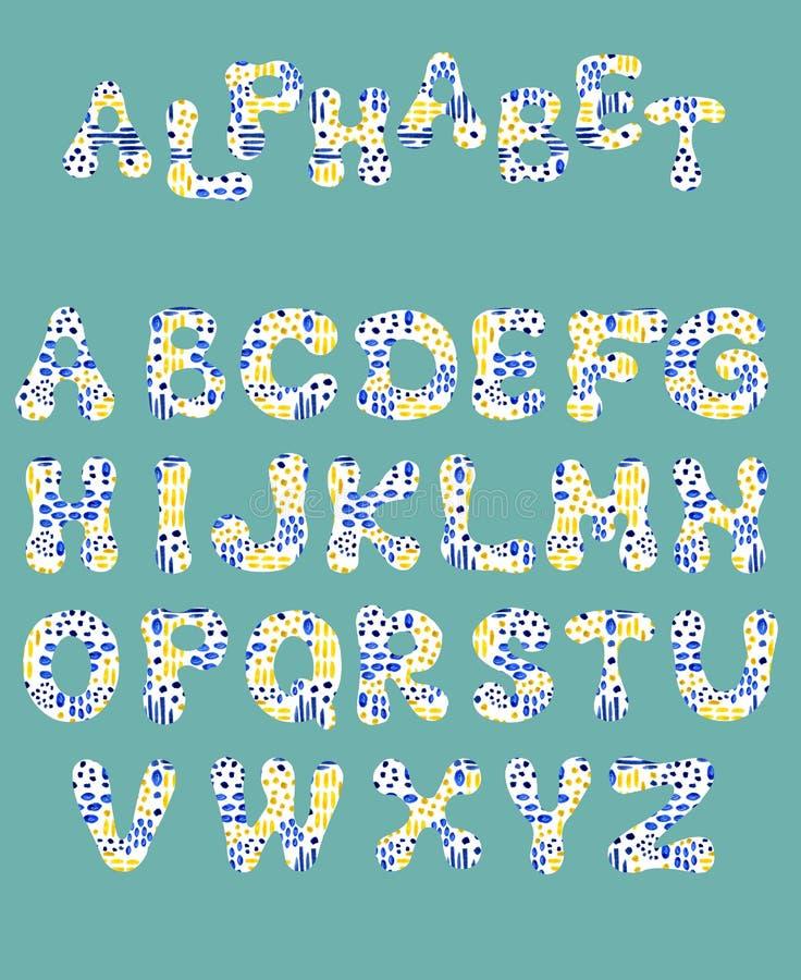 Alphabet anglais des lettres d'aquarelle de bande dessinée avec un modèle Pour la conception des bannières, affiches, cartes, pap illustration libre de droits