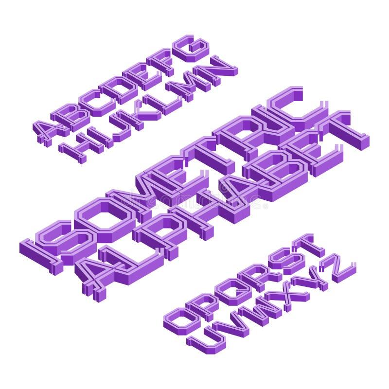 Alphabet anglais isométrique Police volumétrique Lettres 3d d'isolement illustration de vecteur
