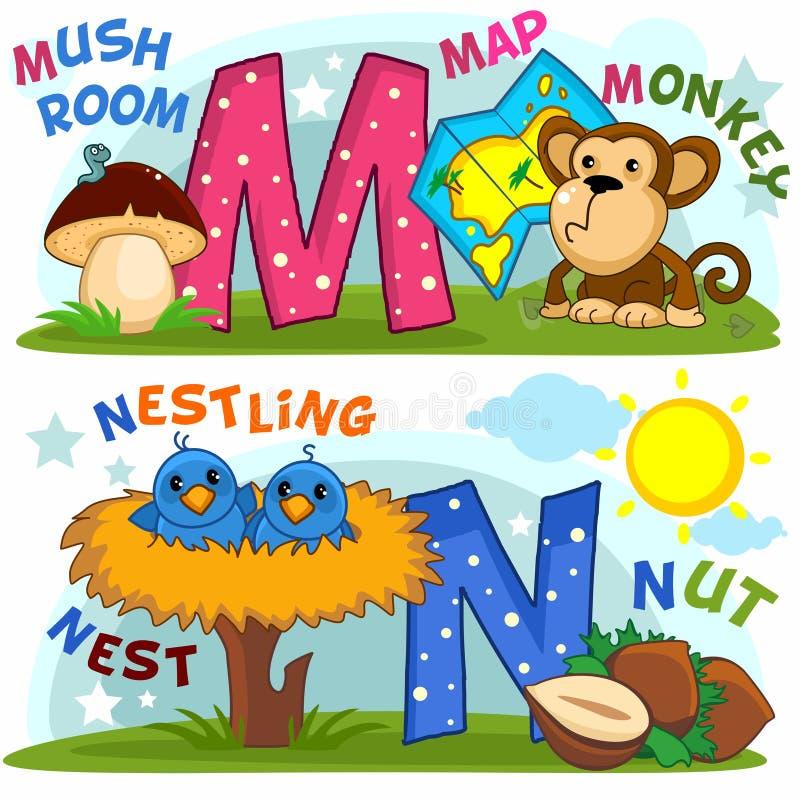 Alphabet anglais M N illustration libre de droits