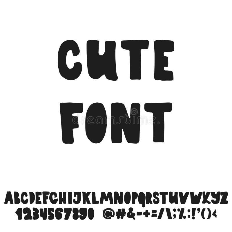 Alphabet anglais mignon tiré par la main de lettrage avec des exemples de cette police Lettres manuscrites de brosse moderne d'en illustration de vecteur