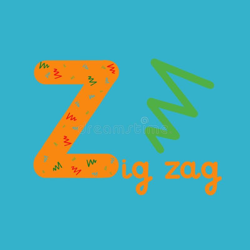 Alphabet anglais pour l'éducation d'enfants, lettre Z, illustration de trame illustration libre de droits