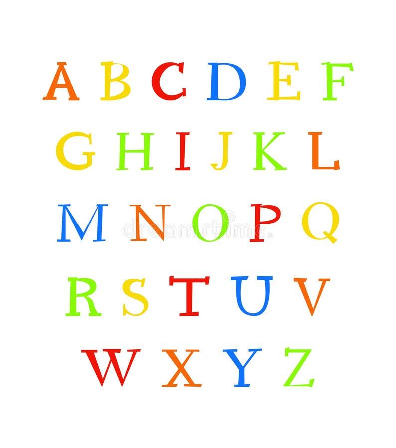 Alphabet anglais sur un fond blanc Grandes lettres colorées de bande dessinée Affiche éducative écrite par main moderne de vecteu illustration de vecteur