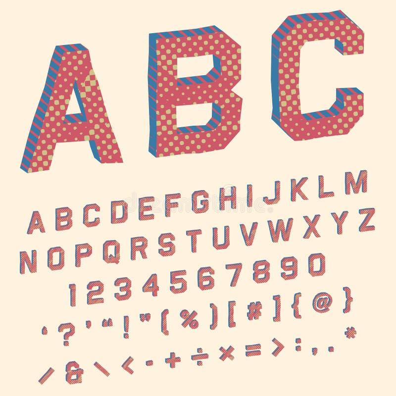 Alphabet with angular letters in retro superhero comic book stock image
