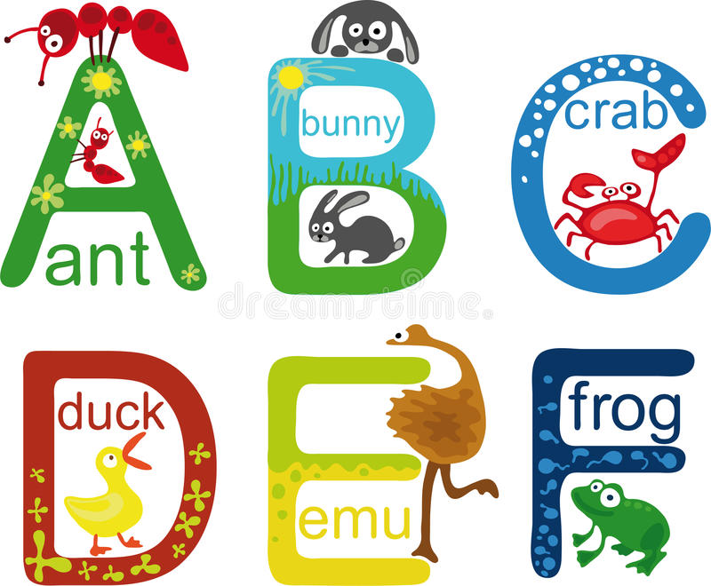 Alphabet animal illustration stock