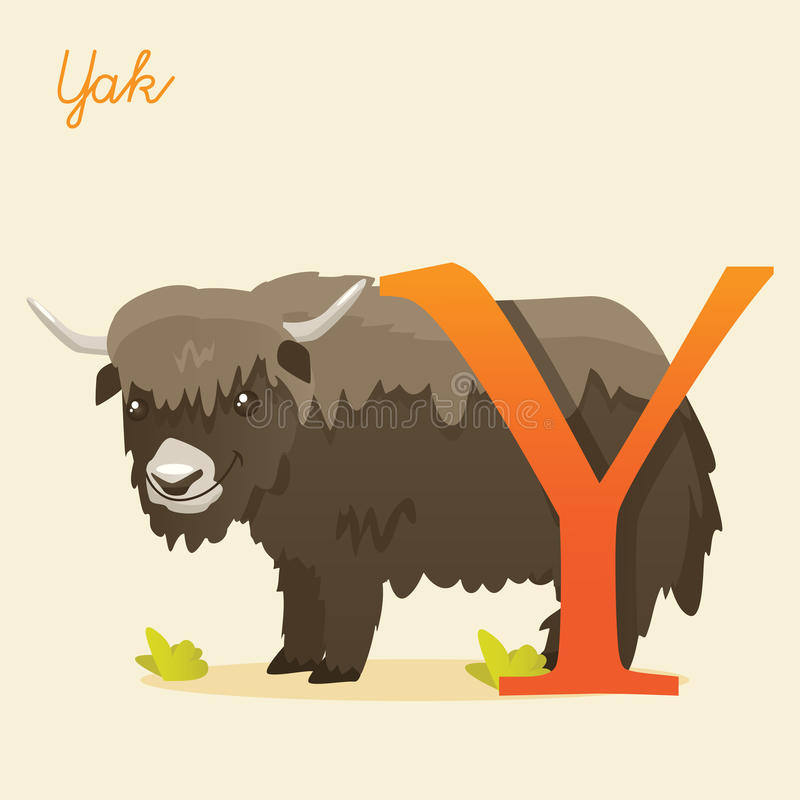 Alphabet animal avec des yaks illustration de vecteur