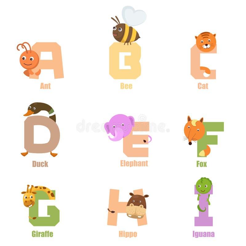 Alphabet Animal A-I. Illustration of alphabet animal a-i vector illustration