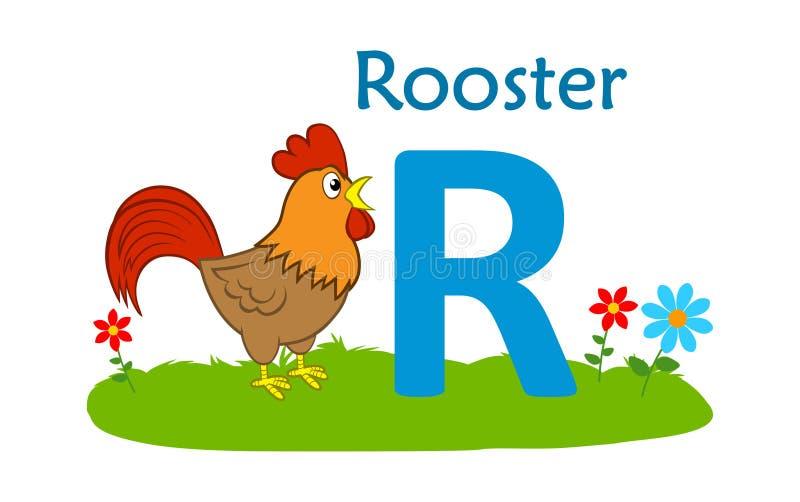 alphabet animal letter r R для петуха иллюстрация штока
