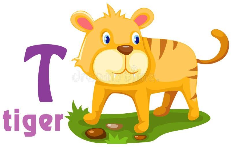 Alphabet animal T illustration stock