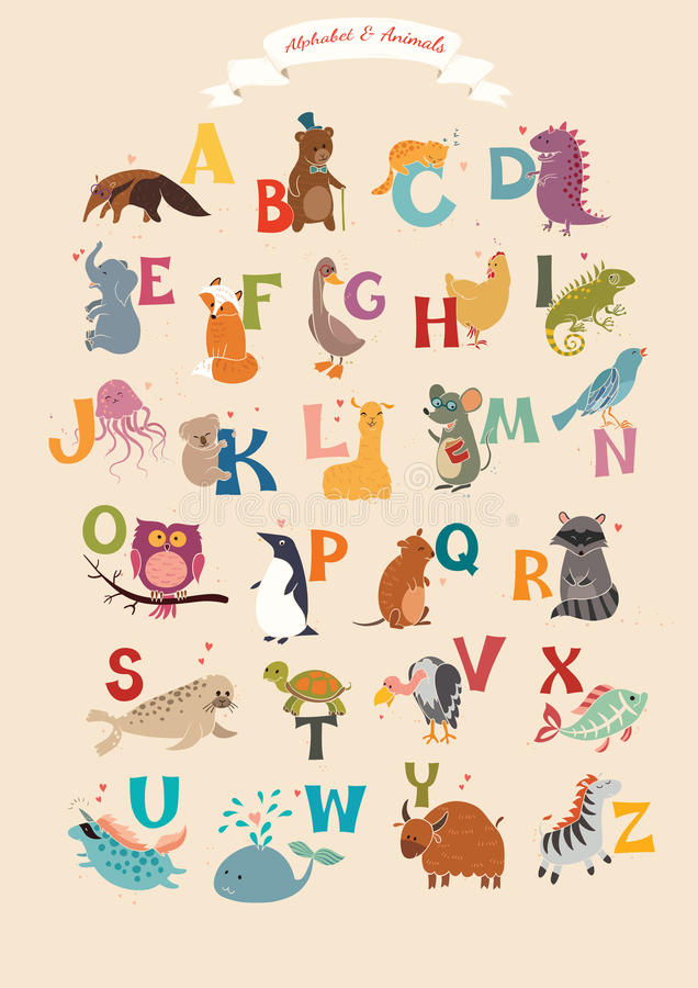 Alphabet & Animal Vector Set. Illustration. Education for children, preschool, cute, poster. Hand Drawn royalty free illustration