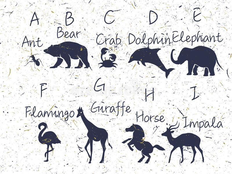 Alphabet with animals sillhouette. Included name, font, letters. ABC for kids with cute animal characters. Vector illustration, is stock image