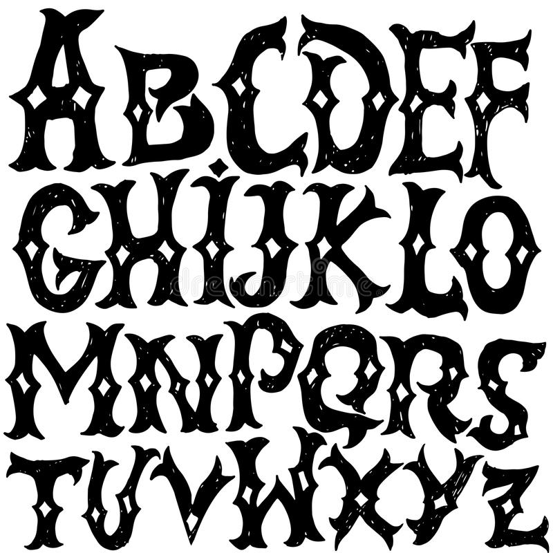 Alphabet antique Lettres gothiques Police tirée par la main de vintage Lettrage grunge de vecteur occidental illustration libre de droits