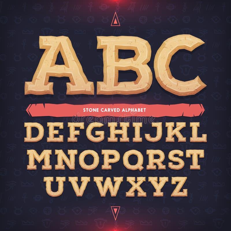 Alphabet antique Oeil d'un caractère commémoratif Découpé de l'ABC de pierre Illustration de vecteur illustration stock