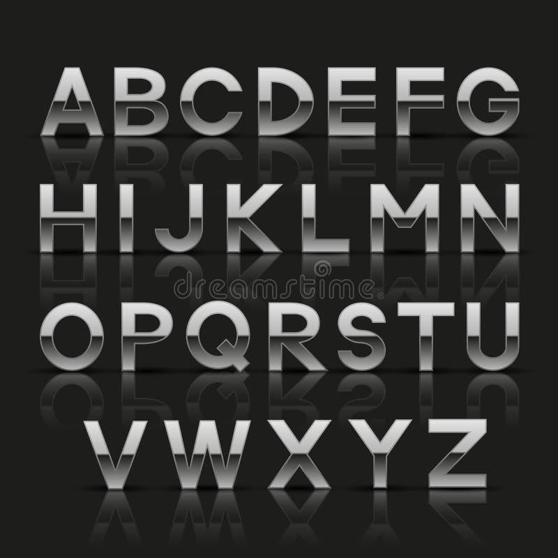 Alphabet argenté décoratif illustration de vecteur