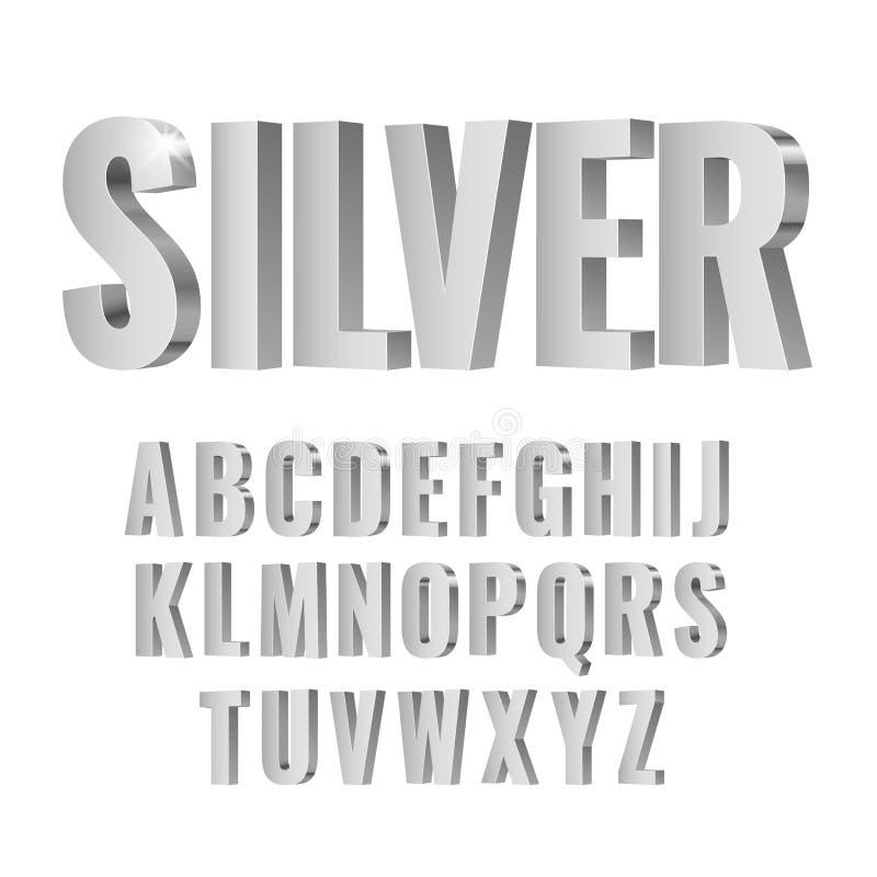 alphabet argenté des symboles 3d illustration stock