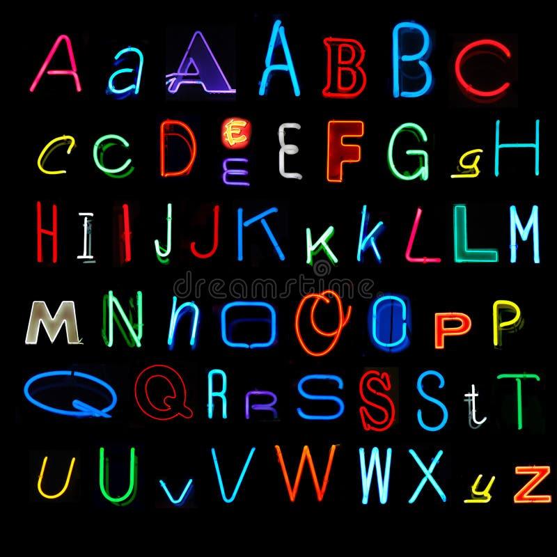Alphabet au néon photo libre de droits