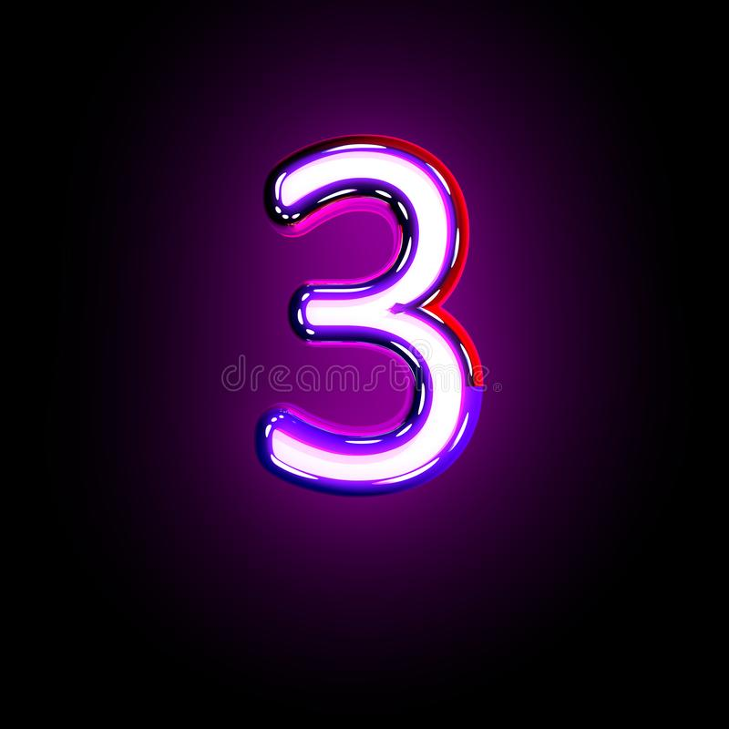Alphabet au néon brillant pourpre - numéro 3 d'isolement sur le fond noir, illustration 3D des symboles illustration de vecteur